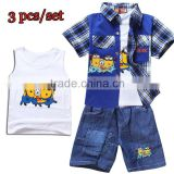 children clothes set Embroidered plaid shirt fashion 2014 children clothing sets baby boy clothing sets