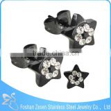 ZS20454 latest model black crystal ear pin star crystal earrings fashion earrings