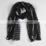 Fashionable voile flower printed long scarf, modal scarves, infinity black scarf for women