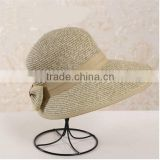 QXSH0047 Hot factory wholesale women ribbon / bowknot straw hat New paper Beach Visor with wide and long brim