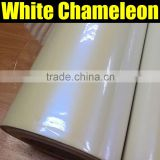 Popular White Chameleon Pearl Vinyl Wrapping Film with Air Free Bubbles,pearl white to blue sticker with size:1.52*20m/roll