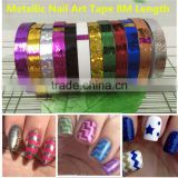 2016years12 Rolls Metallic Nail Art Tape New Raised Grain Line Strips Decoration Sticker UV Gel Polish Fantastic Nail Accesories