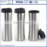 16oz Double wall stainless steel outer plastic inner coffee tumbler / coffee mug with leak proof lid