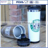 Customized design double wall insulated Starbucks stainless steel coffee thermos mug travel mug or tumbler with paper insert                                                                         Quality Choice