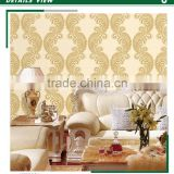 buy embossed pvc wallpaper, yellow islamic waves wall covering for home decorative , small scale wall sticker brands