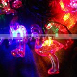 free shipping Colorful solar christmas light 10 Flamingo Led +4.5M lenght Cable using for christmas,festival decoration