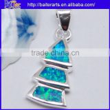 Hot !! 925 Sterling Silver Synethic Opal Triangle Pendant/Fire Opal Inlay Triangle Shape Pendant