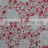 Rose flowers satin lace fabric with cording
