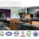 High gloss black lacquer door and MFC/laminate carcass kitchen cabinets