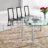L801 ROUND BLACK GLASS EXTENDING ROTATING DINING TABLE
