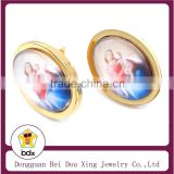 Gold Plated Stainless Steel Religious Resin Saint Virgin of Montserrat Mary & Infant Jesus Double Sided Christ Charm Earrings