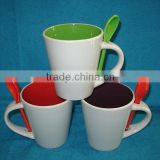 double colour spoon ceramic mug