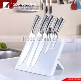 6 pcs stainless steel hollow handle kitchen knife set with wooden block kitchen knife knives made in china