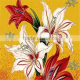 VH White and Red Lily Glass Mosaic Mural Bedroom Wall Tiles Beautiful Mosaic Patterns