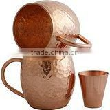 Set of 2 Pure Copper Mugs with Copper Shot Glass - Two 16 Oz Copper Moscow Mule Free Glass