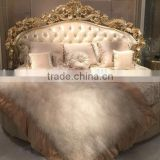 Luxury French style wooden round bed for villa hotel