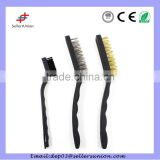 2 pcs big stainless steel, brass, wire brush & 1 pcs samll PET wire brush in one set