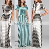 Elegant Long Nightgowns Black & White Stripe Short Sleeve Hidden Pockets Scoop Neck gown dresses evening muslim dress maxi