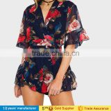 Summer beach party playsuit sexy deep v neck rose floral printed one piece chiffon boho shorts jumpsuits for adult women