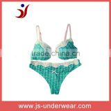 fashion printed brassiere with small lace