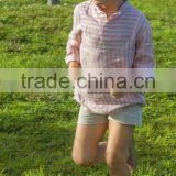2017 wholesale kids baby shirt long sleeve pink stripe casual latest shirt designs for boys