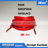 "Brand Red Sheepskin Shoes Dress Laces Customized Length 24"" 27"" 30"" 36"" 45"" 54"" 63"" 72"" Sheepskin Leather Lace Luxury Shoe Laces"