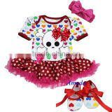 Baby Colorful Hearts Red Polka Dots Skull Bodysuit Romper Tutu Jumpsuit Pettiskirt Crib Shoes Bow NB-18M