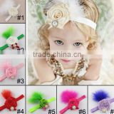 feather handmade baby fabric flower hairband and kids headband headwear