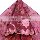wholesales stiff organza fabric with leather for dress