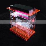 Factory Sale Custom LED light acrylic e-liquid e cigarette rack display case box with lock
