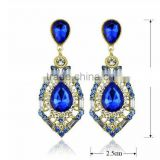 2015 Fashion costume jewelry natural amethyst druzy earring Arete para novia Cristal Crystal with diamante