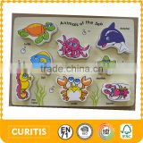 The Best Selling Products Bright Colour 8 pcs MDF and plywood material Sea Animal Kids Fashion Europe EN71 Wooden Chunky Puzzle