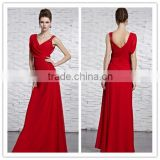 Red Sexy Long Bridesmaid Dresses Sheath V Neck Sweep Beaded Chiffon Ruffle 2015 Pin Up Evening Dresses