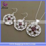 Best selling alibaba wholesale price 925 silver plated zircon stone jewelry set price (AT563)
