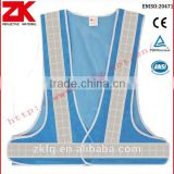 Manufacturer cheap blue mesh safety vest with polyester reflective tape