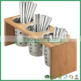 Bamboo 3 Cylinder Display Rack for Flatware or Condiments