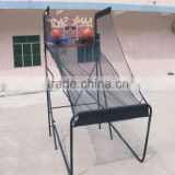 Super rolling basketball shooting machine with electronic scoreboard & steel stand
