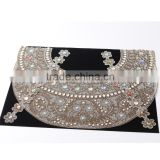 Wholesale Custom Crystal Rhinestone Flower Applique neck sari patterns lace collar india saris