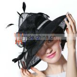Black fashion sinamay summer party girls church hats for women                                                                         Quality Choice