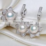 925 sterling silver zircon natural freshwater pearl jewelry set