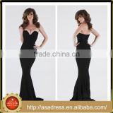 PS-38 Classic Long Strapless Mermaid Stain Low Back Special Occasion Prom Gown Strapless Black Simple Prom Dress
