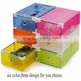 6pcs/lot Transparent colorful Foldable Storage box /plastic clear shoes storage box drawer type