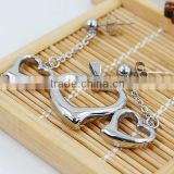 Factory direct sale Fashion heart shape earrings and pendant stainless steel jewelry set