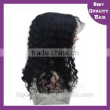 Natural Black Curly Micro Afro Kinky Curl Indian Remy Pure Human Hair Full Lace Wigs