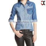 2015 European fashion women ladies jeans long sleeve stitching curve bottom fancy polo t-shirts JXQ862