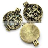 Wholesale 33mm Round Vintage Locket Pendant Hollow Floating Locket Necklace Blank Tray DIY Essential Oils Jewellery