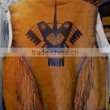 western leather vest/ suede leather fashion vest/fringe leather vest