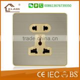 UK standard brushed stainless steel electric electric 2 pin and 3 pin socket with wall switch universal socket