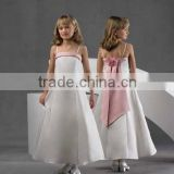 Princess classical spaghetti straps white satin pink trim bow flower girl dress A2532
