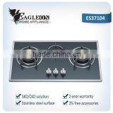 HOT sell model PK style black steel cast iron gas stove gas hob with 3 burner brass burner